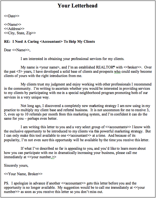 How To Tap Into A Gold Mine Of Endless Quality Clients Agent – Real Estate Referral Letter